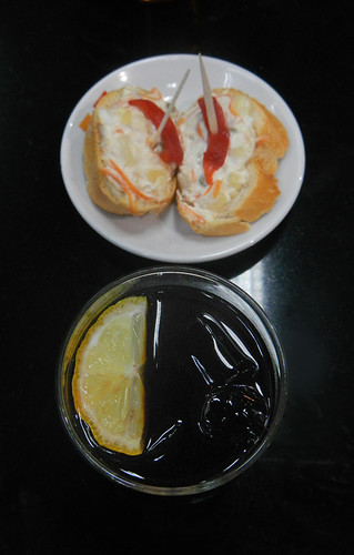 A Tapa of Potato Salad on Bread with 'Vermut'