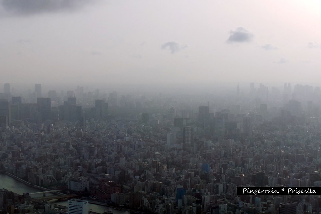 Hazy sky, mist enveloping the city
