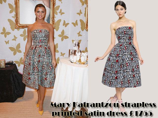 Mary-Katrantzou-strapless-printed-satin-dress,printed strapless dress, Mary Katrantzou strapless printed satin dress, bell-shaped  dress, strapless printed satin dress, printed strapless dress, mustard yellow heels
