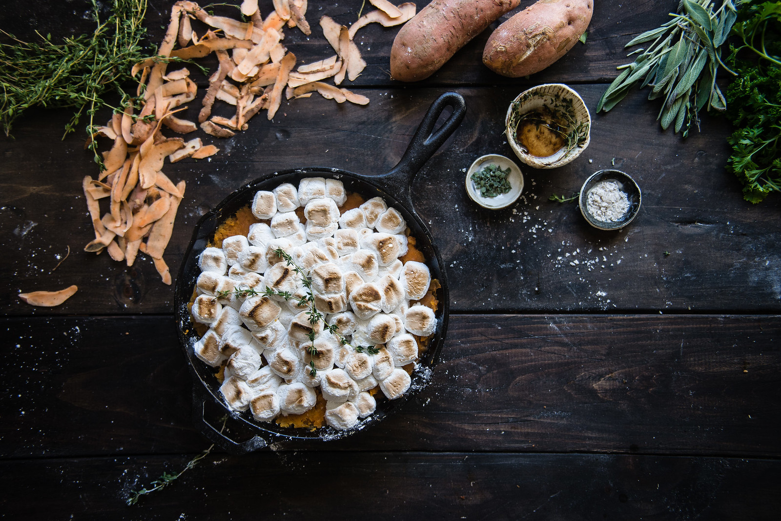 maple-brown butter sweet potato casserole + thyme marshmallows