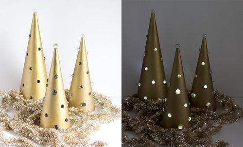 DIY Mod Light-Up Trees. Click through for the full tutorial! | www.vitaminihandmade.com