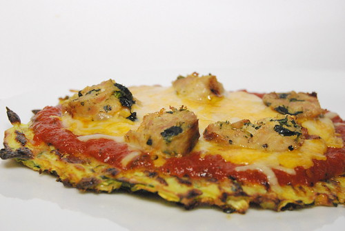 Zucchini Pizza Crust with Turkey Sausage-001