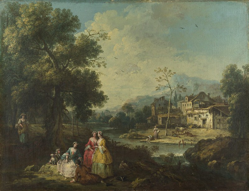Giuseppe Zais - Landscape with a group of figures fishing (c.1770)