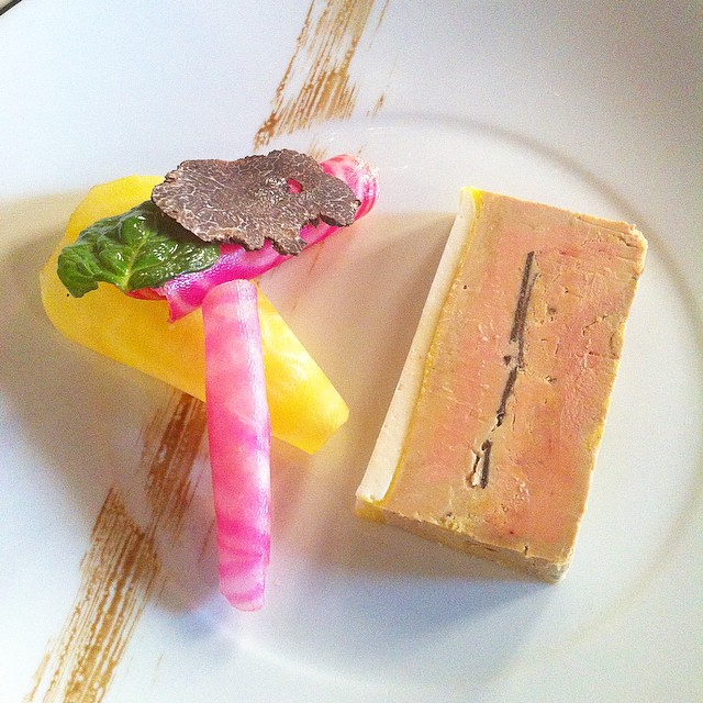 Starter at La Table des Cordeliers Jour de l'An lunch: pressé de foie gras à la truffe noire, gelée de chou-fleur, betterave. Stunning.
