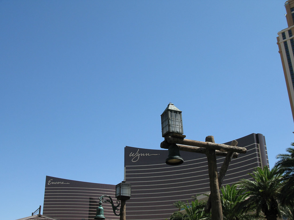Outside the Wynn and Encore hotels