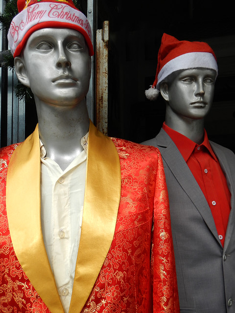Spiffy Santa Suits For Sale at a Hoi An Tailor