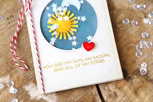 sun, moon and stars shaker card {new mama elephant}