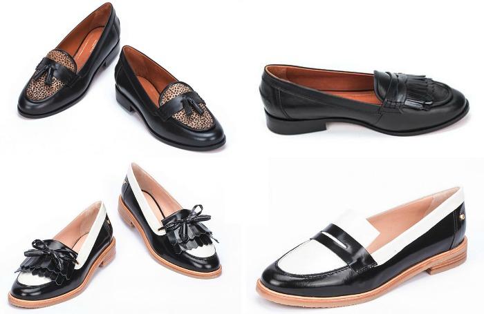 zapatos planos blanco y negro