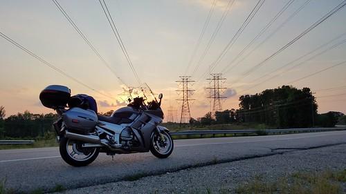 road sunset freedom evening ride powerlines electricity motorcycle yamaha openroad fjr1300 powergrid wiretower electricallines twowheel utilitylines