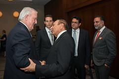Brian Mulroney shaking hands with Nick Kanji Rt. Hon. Brian Mulroney greeting guests at the NATO Associations 50th Anniversary Gala