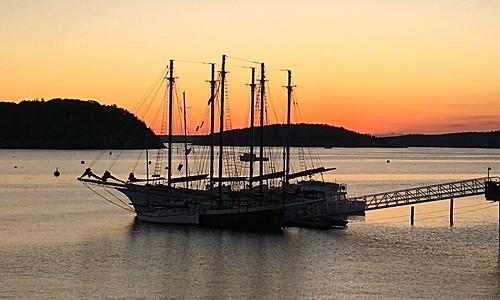 summer sky water beauty sunrise harbor pier ship maine schooner barharbor iphone