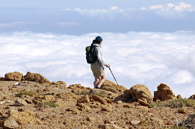 Walking with poles, Mount Guajara, Tenerife, Canary Islands
