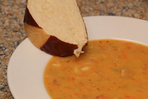 Beer cheese and brat soup