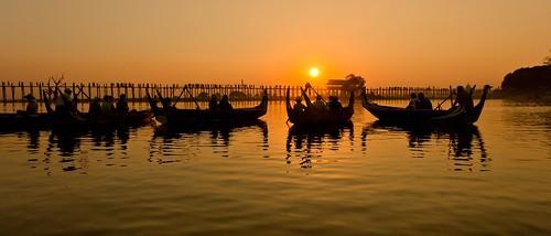 bridge sunset lago asia burma myanmar mandalay amarapura ubein taungthaman