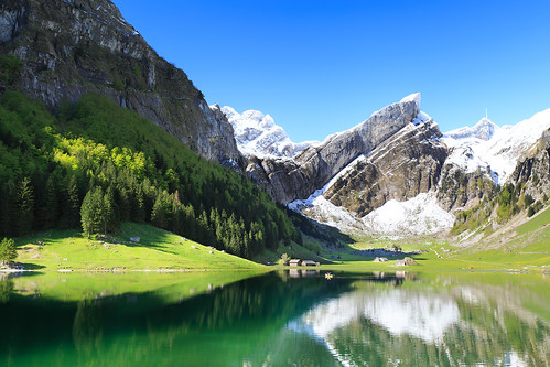 mountain lake snow green switzerland landscapes wasserauen absolutelystunningscapes