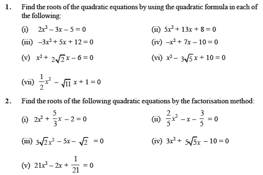 Class 10 Important Questions for Maths Quadratic Equations – Quadratic Equations Worksheet