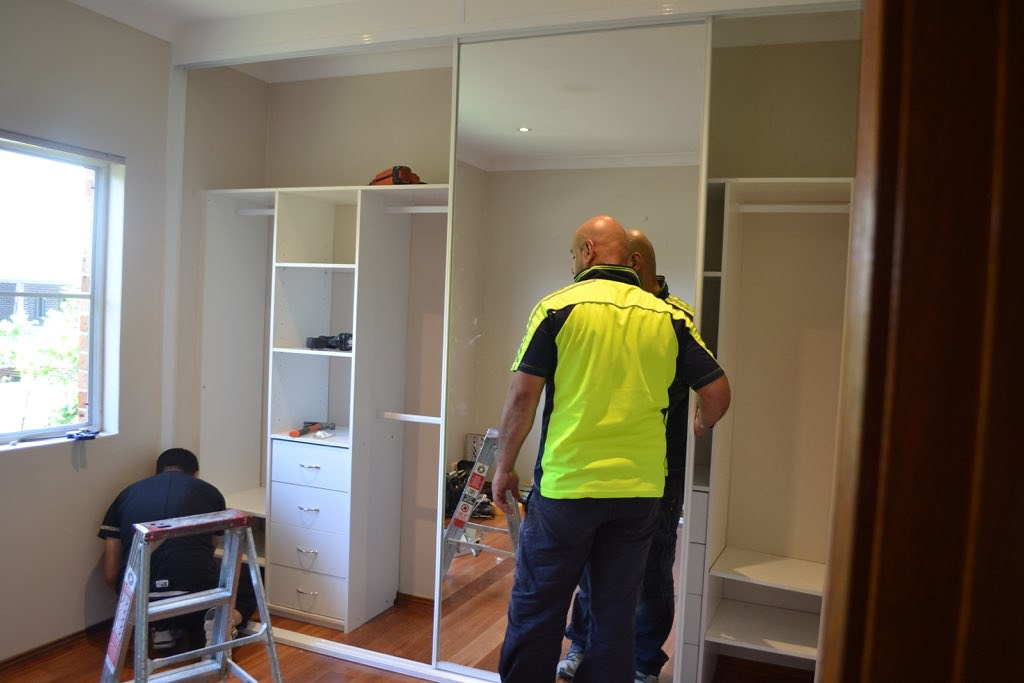 Installing Built-In Wardrobe - sliding mirrored doors