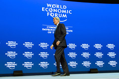 U.S. Secretary of State John Kerry walks to the podium before delivering a speech about violent extremism to World Economic Forum attendees in Davos, Switzerland, on January 23, 2015. [State Department photo/ Public Domain]