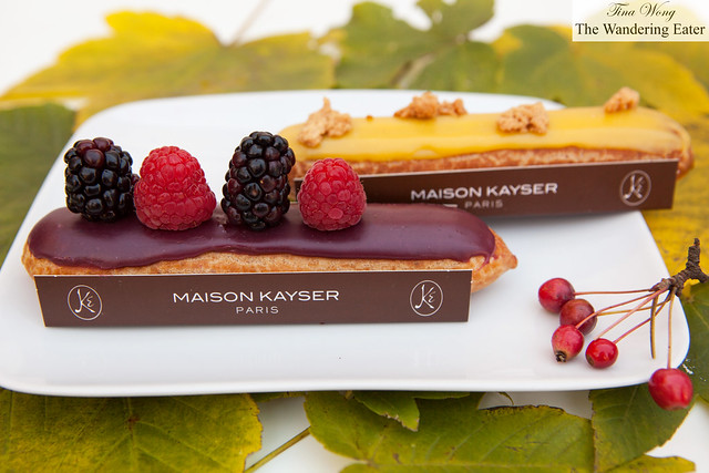 Maison Kayser's mixed berries and yuzu eclairs