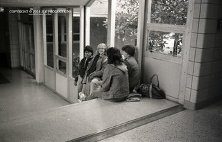 Tri-X Files 84_30.12: Ranjan and Sarah Hanging Out on the Senior Steps