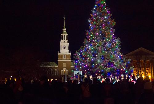 winter night community treelighting dartmouth thegreen bakerlibrary christmasrevels