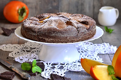 Chocolate cake with persimmon.