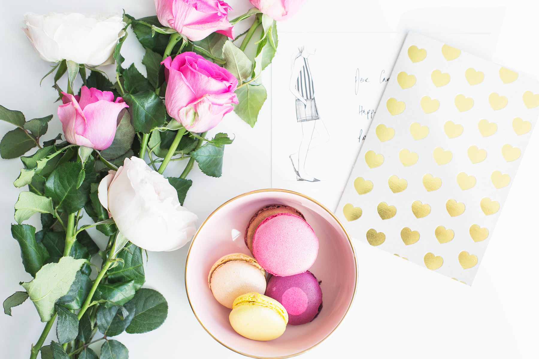 Macarons and roses
