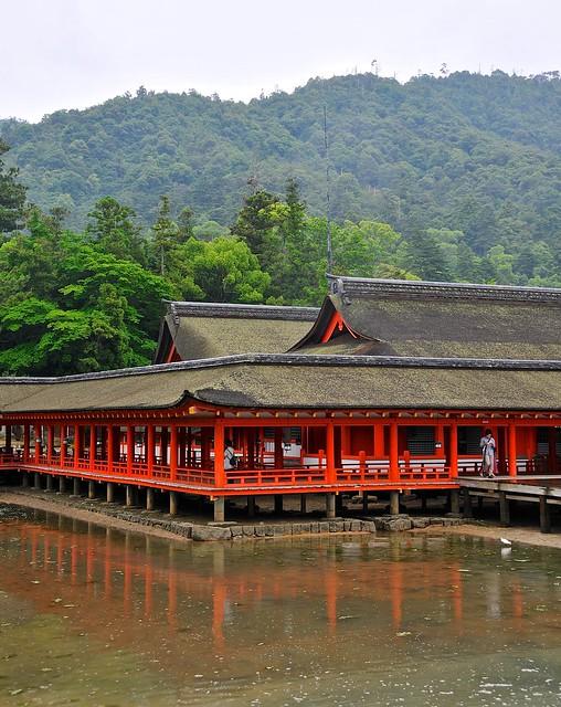 Miyajima shrine as tide rolls in