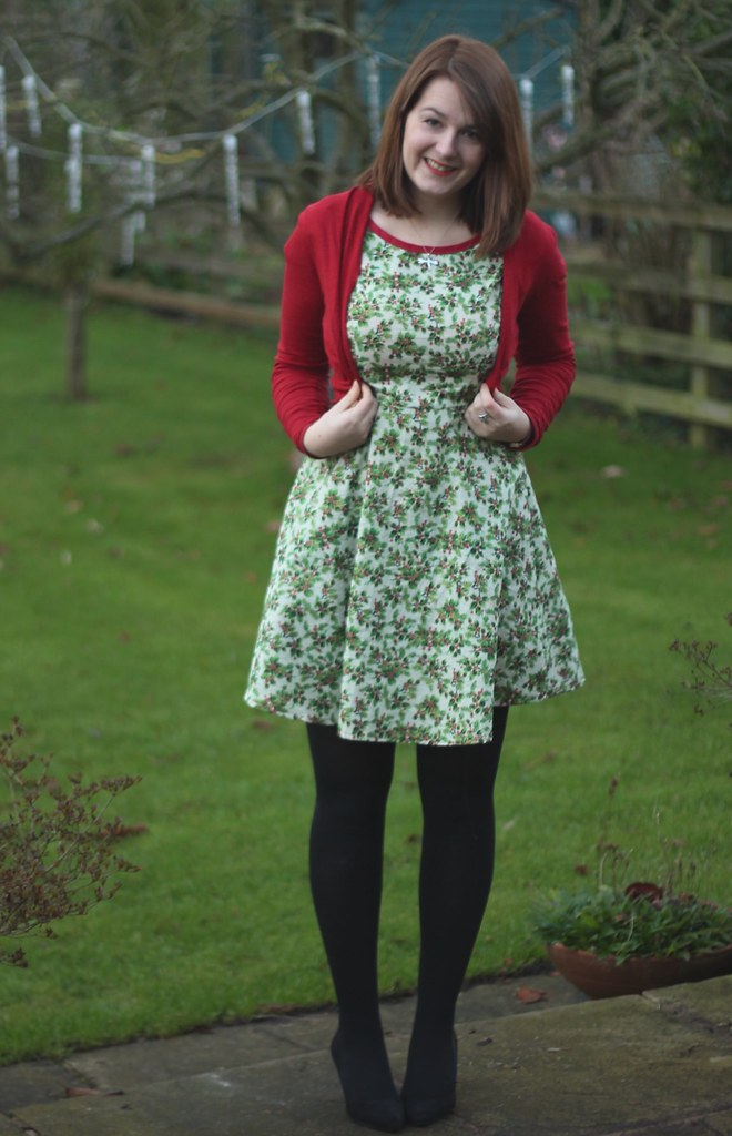 Christmas Day dress with red cardigan