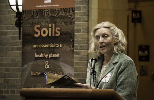 Dr. Carolyn Olson, President of the Soil Science Society of America,  presented the 2015 Soils Planner published by the Soil Science Society of America at USDA's Natural Resources Conservation Service (NRCS) celebration of the International Year of Soils at USDA in Washington, D.C. on Tuesday, Jan. 6, 2015. The event was to highlight the importance of healthy soils for food security, ecosystem functions and strong farms and ranches. USDA photo by Bob Nichols.