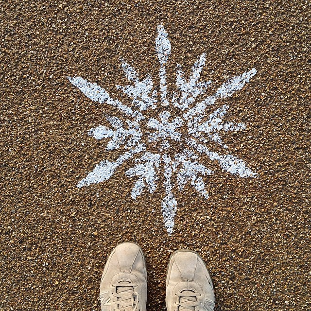 Stencilled snowflakes in the Olympic Park #winter #qeop #london
