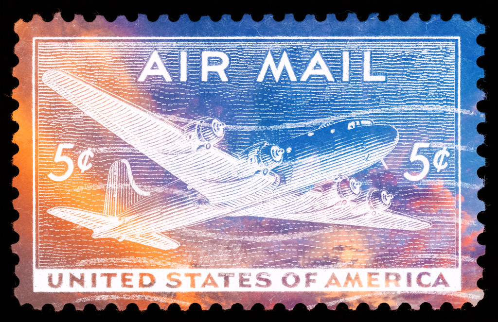 Vibrant US Air Mail Stamp