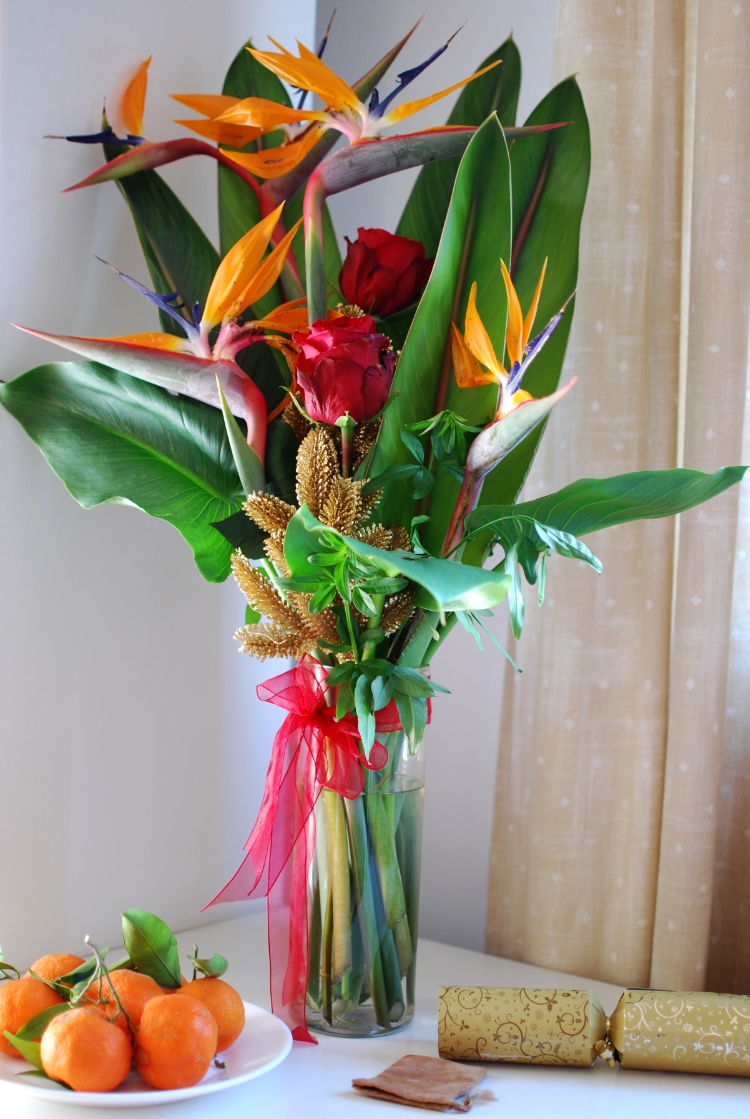 Tropical flower arrangement for Christmas