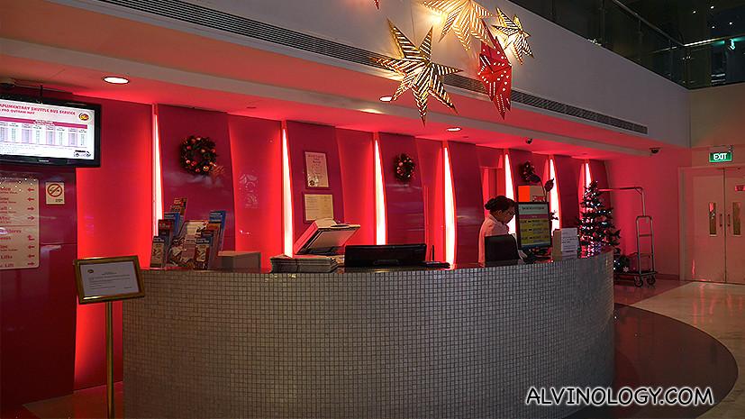 Reception desk at hotel lobby
