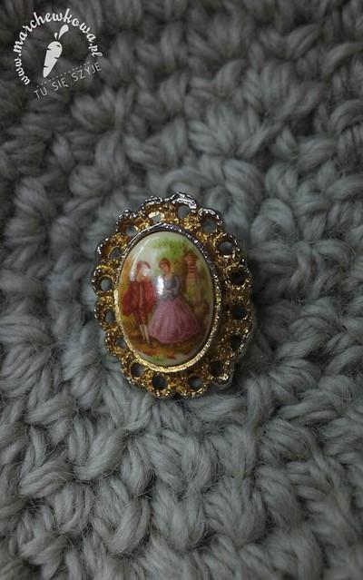 Vintage brooch, broszka, retro, vintage, porcelana, ceramika