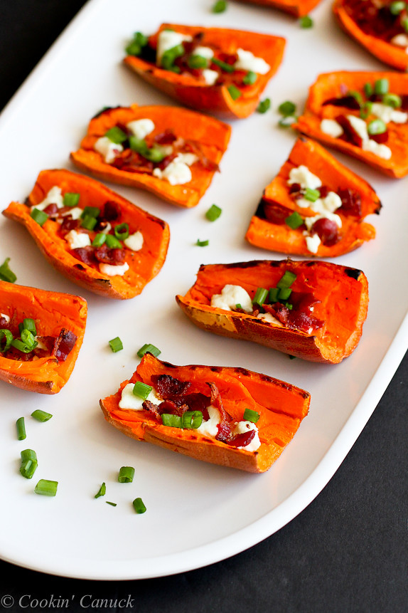 Light Sweet Potato Skins with Bacon & Goat Cheese...A healthy game day ...