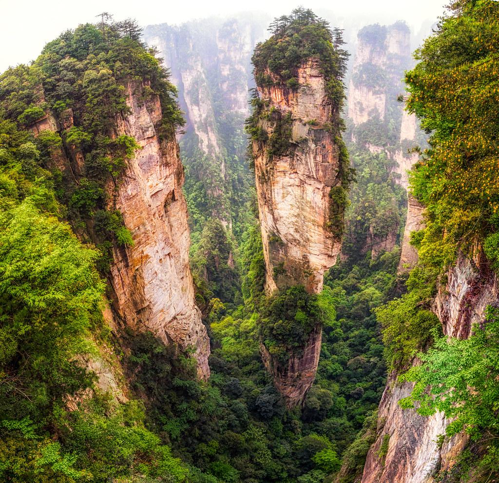 into the peaks of zhangjiajie