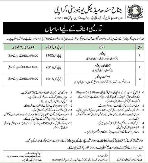 Jinnah Sindh Medical University Karachi Jobs
