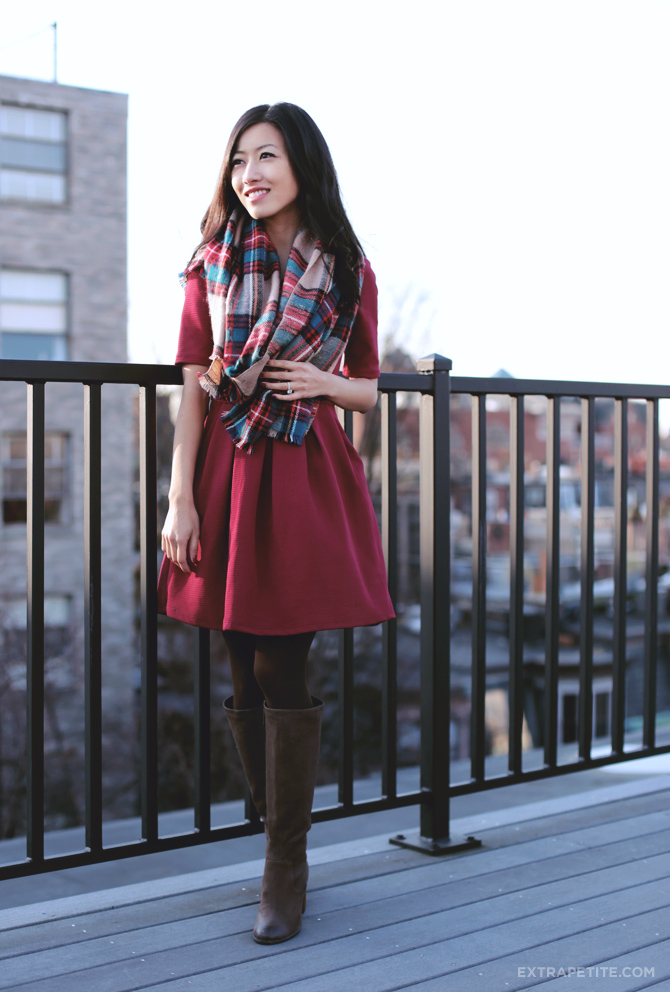 red dress plaid scarf