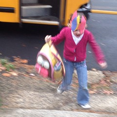 Teagan was very excited when she got off the bus. #thanksgiving #hat
