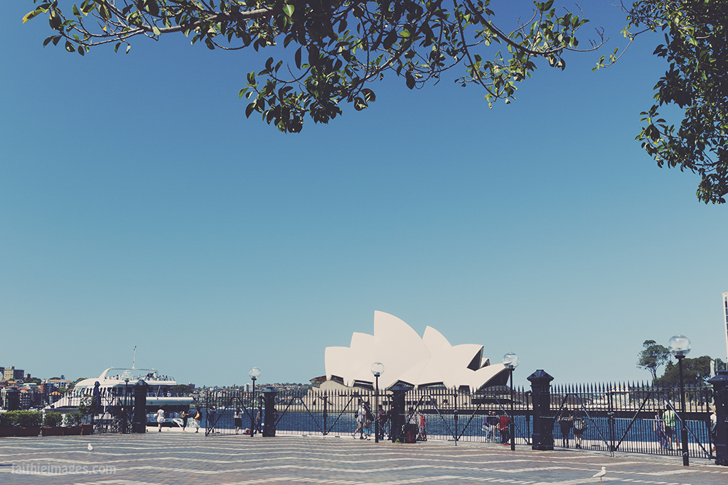Sydney Opera House with vintage glossy magazine edit