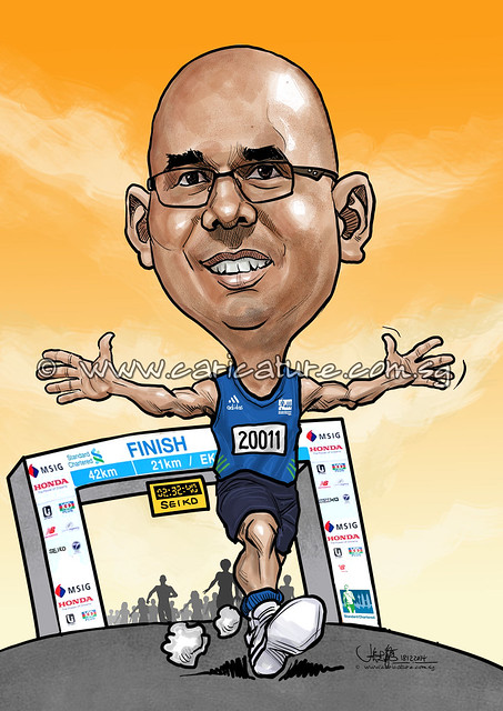 digital marathon runner caricature for Standard Chartered Bank (watermarked)
