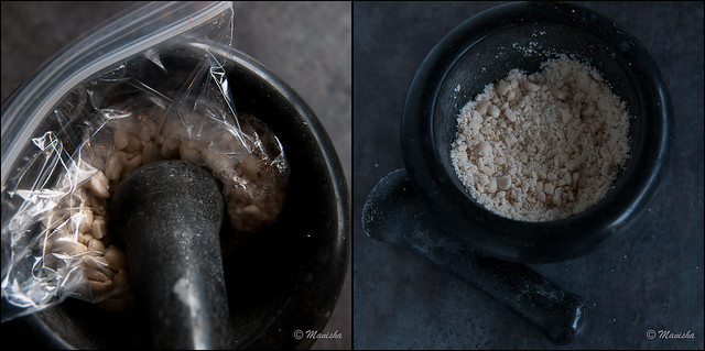 Peanuts in a mortar pestle