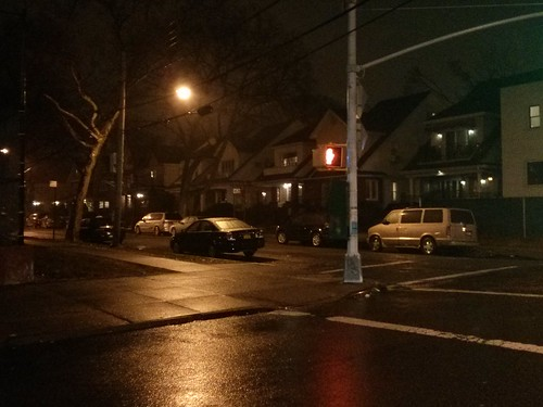 Late Evening. Rain. Deserted streets in Midwood, Brooklyn, NY