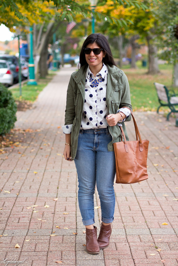 polka dot shirt, utility jacket, brown boots-2.jpg