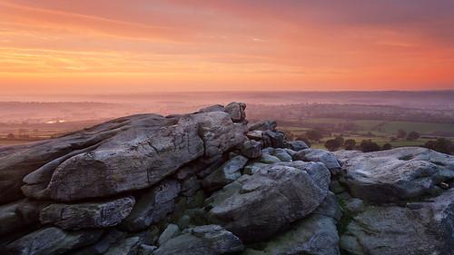 sunrise rocks yorkshire climbing almscliffecrag wharfedale