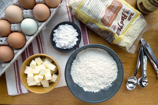 eggs, butter, flour, almond flour