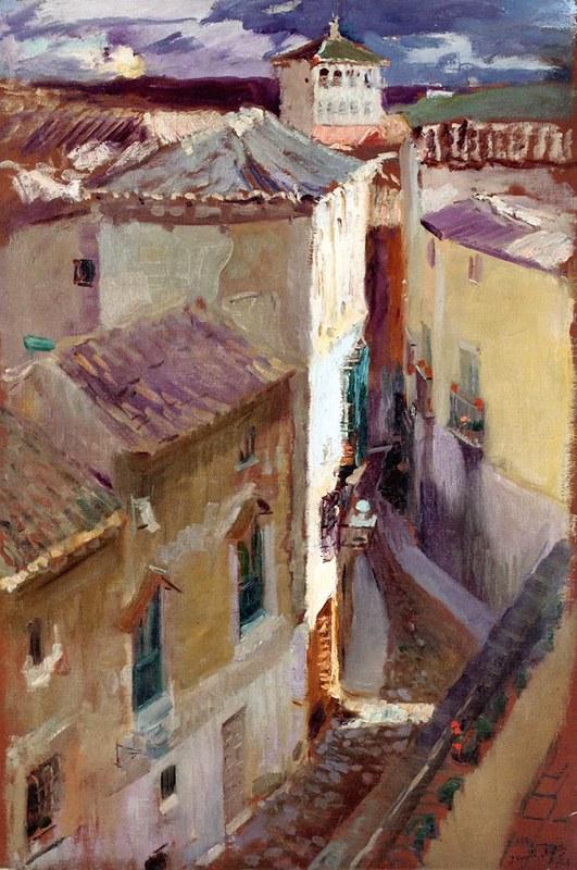 """""""Una calle de  Toledo"""", obra de Joaquín Sorolla. Pintado desde el Hotel Castilla, donde se alojaba. La que se ve es la calle Recoletos. Otoño de 1906."""