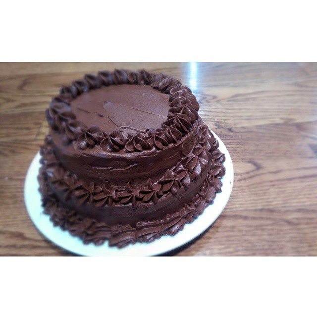 """All """"tiered"""" up for my dad's birthday.  This may be the tastiest sugar bomb I've made all year."""