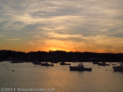 Boats in the sunset in Plymouth, MA